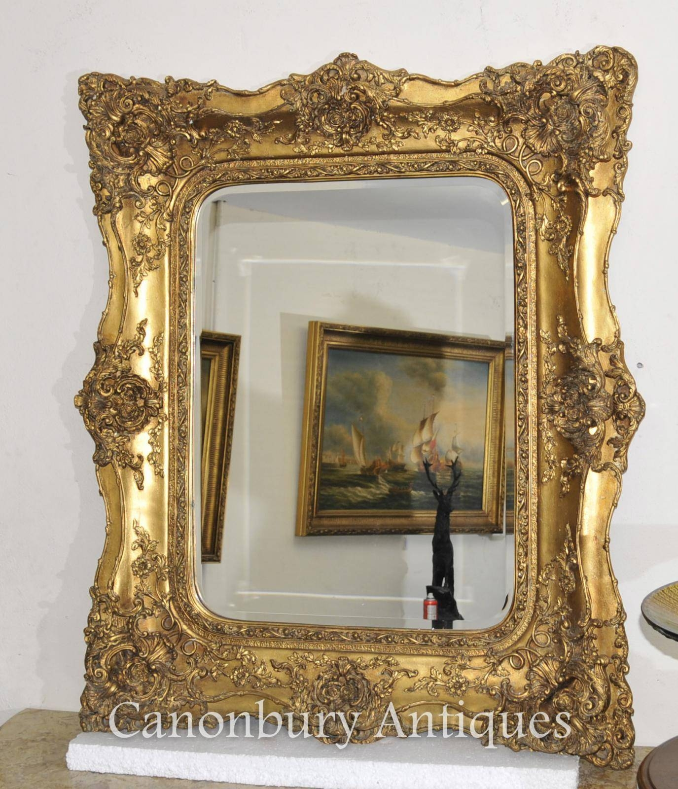 Victorian Gilt Mantle Mirror Hall Mirrors Glass Frame | Ebay Throughout Victorian Mirrors (View 8 of 15)