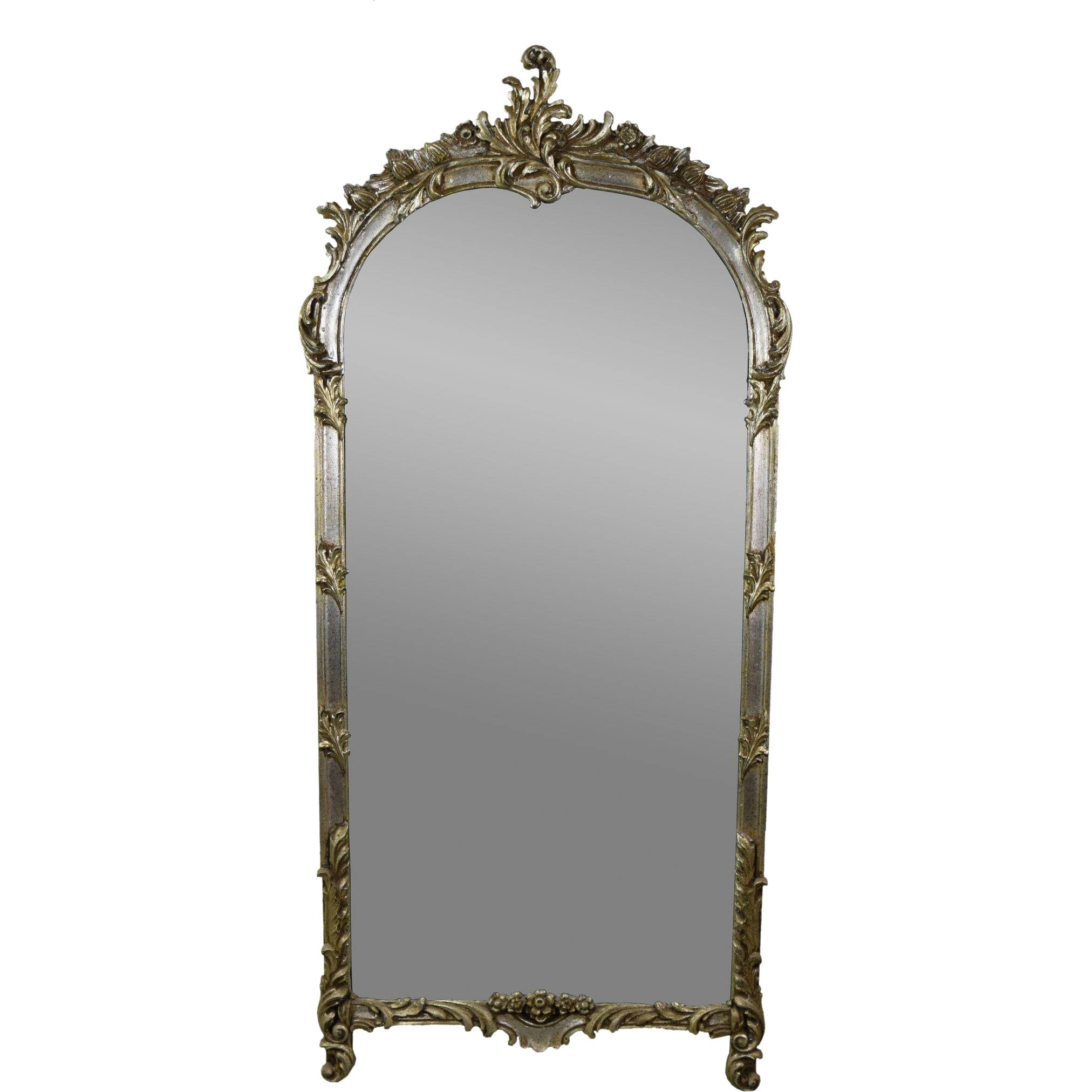 Vintage Labarge French Style Wall Pier Mirror W Silver Gilt inside Large Silver Gilt Mirrors (Image 14 of 15)