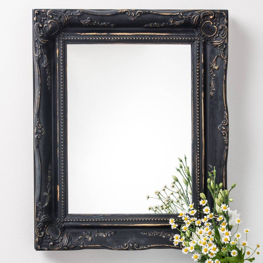 Vintage Matt Black Mirror Distressedhand Crafted Mirrors within Large Black Vintage Mirrors (Image 14 of 15)