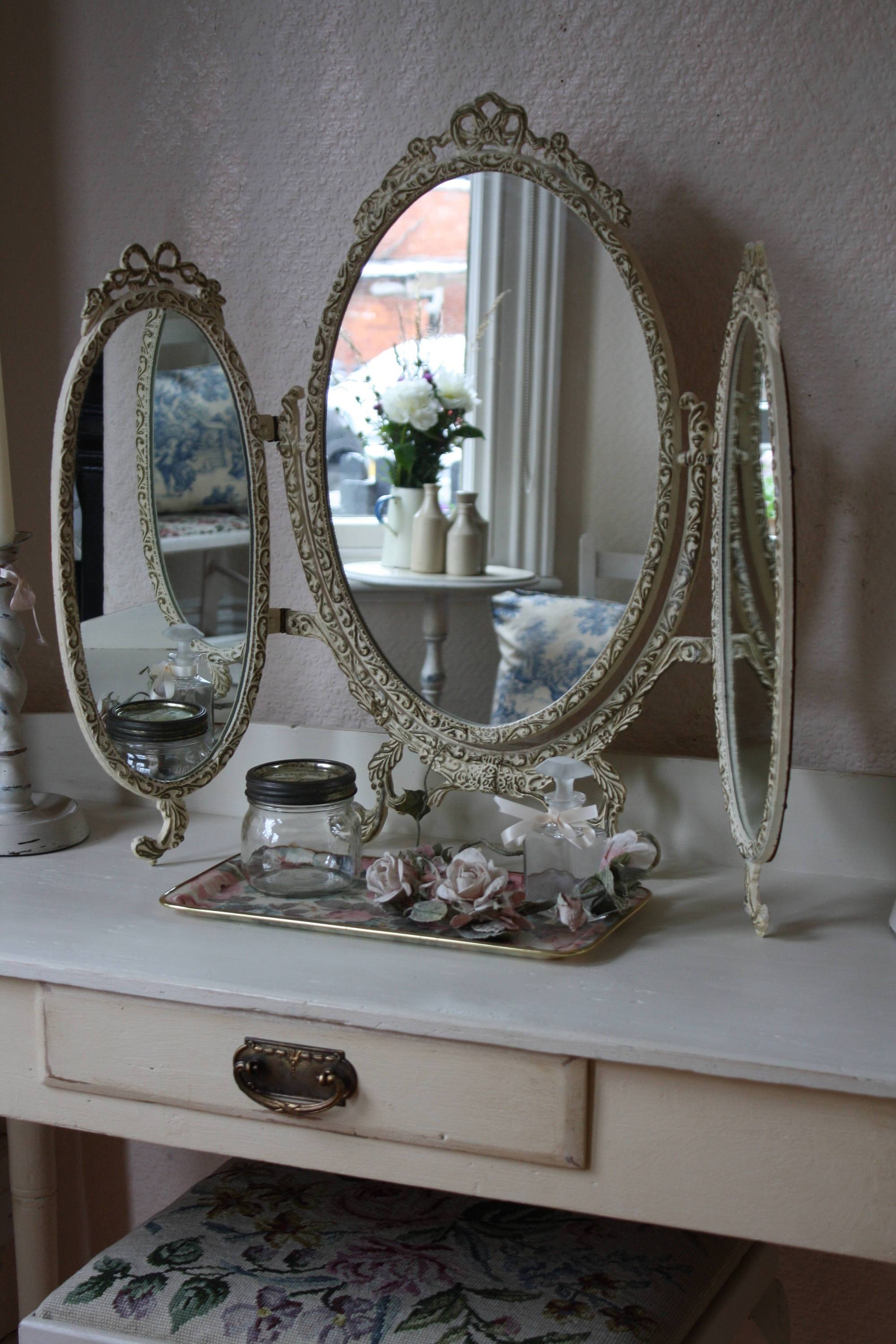 Vintage Metal Framed Cream And Gilt Triple Dressing Table Mirror in Antique Triple Mirrors (Image 15 of 15)
