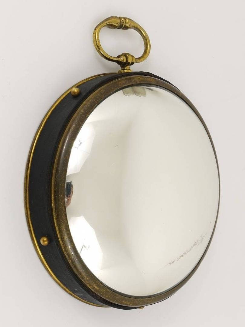 Vintagerie: Petite French Convex Brass And Leather Mirror Bullseye Inside Round Leather Mirrors (View 11 of 15)
