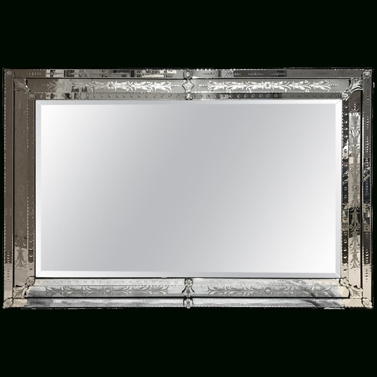 Viyet – Designer Furniture – Accessories – Vintage Large Etched Intended For Rectangular Venetian Mirrors (View 13 of 15)