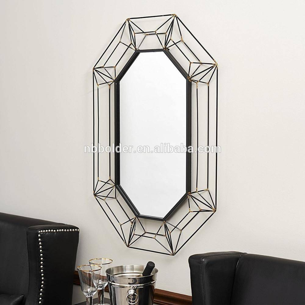 Wall Hanging Large Metal Wire Frame Wall Mirror 3D Design Home regarding Large Metal Mirrors (Image 14 of 15)