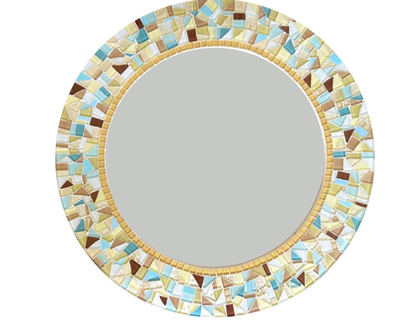 Wall Mirror // Round Mosaic Mirror // Decorative Mirror // Regarding Round Mosaic Mirrors (View 12 of 15)