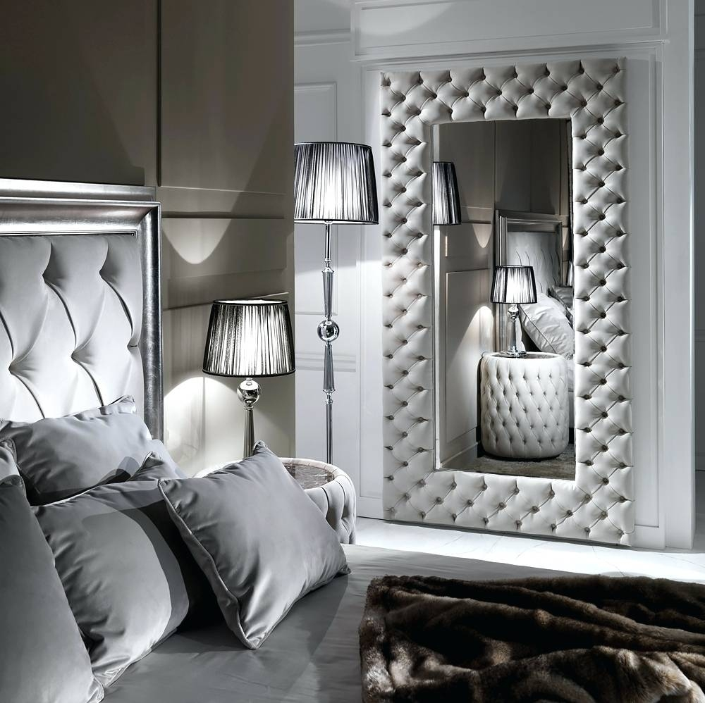 Wall Mirrors ~ Celine Black Leather Round Wall Mirror Leather in Black Leather Framed Mirrors (Image 8 of 15)