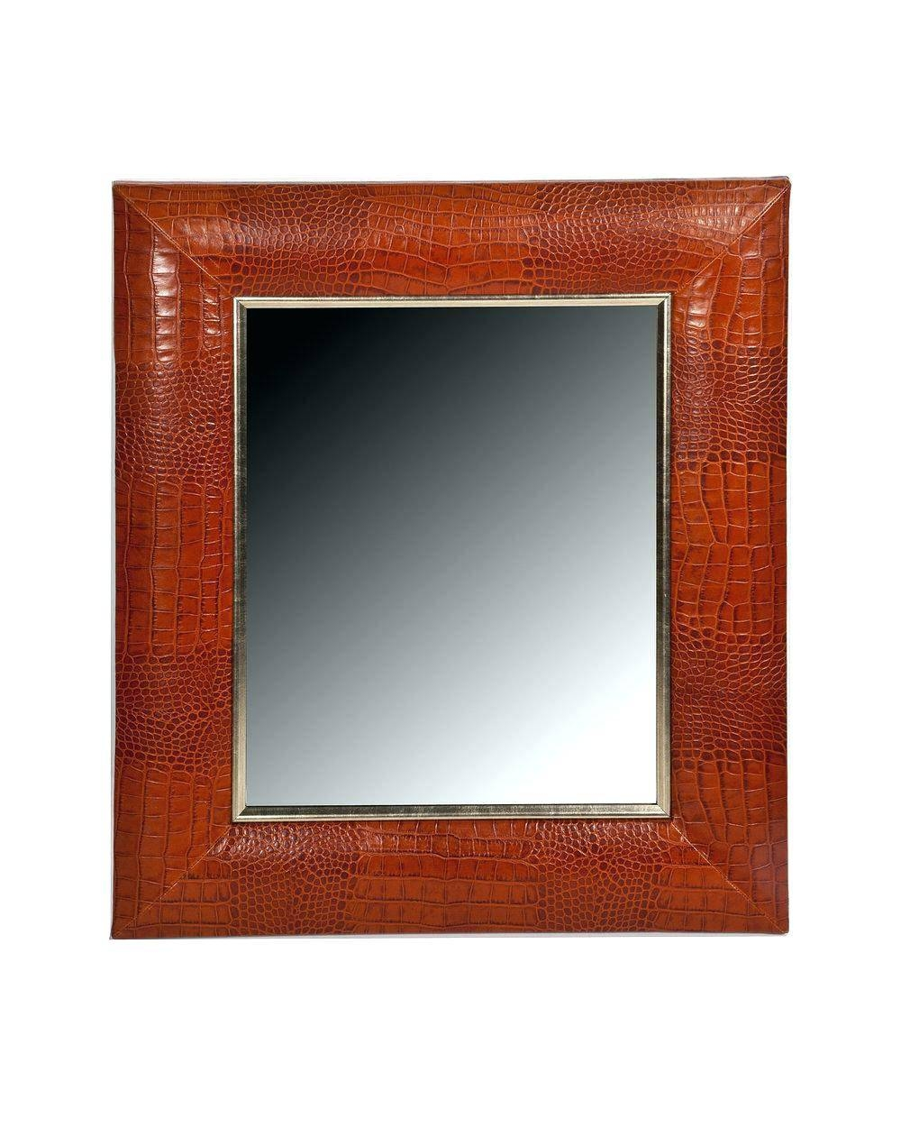 Wall Mirrors ~ Celine Black Leather Round Wall Mirror Leather inside Black Leather Framed Mirrors (Image 9 of 15)