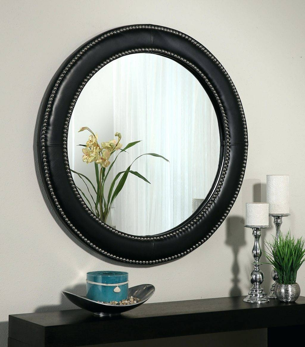 Wall Mirrors ~ Celine Black Leather Round Wall Mirror Leather pertaining to Black Leather Framed Mirrors (Image 10 of 15)