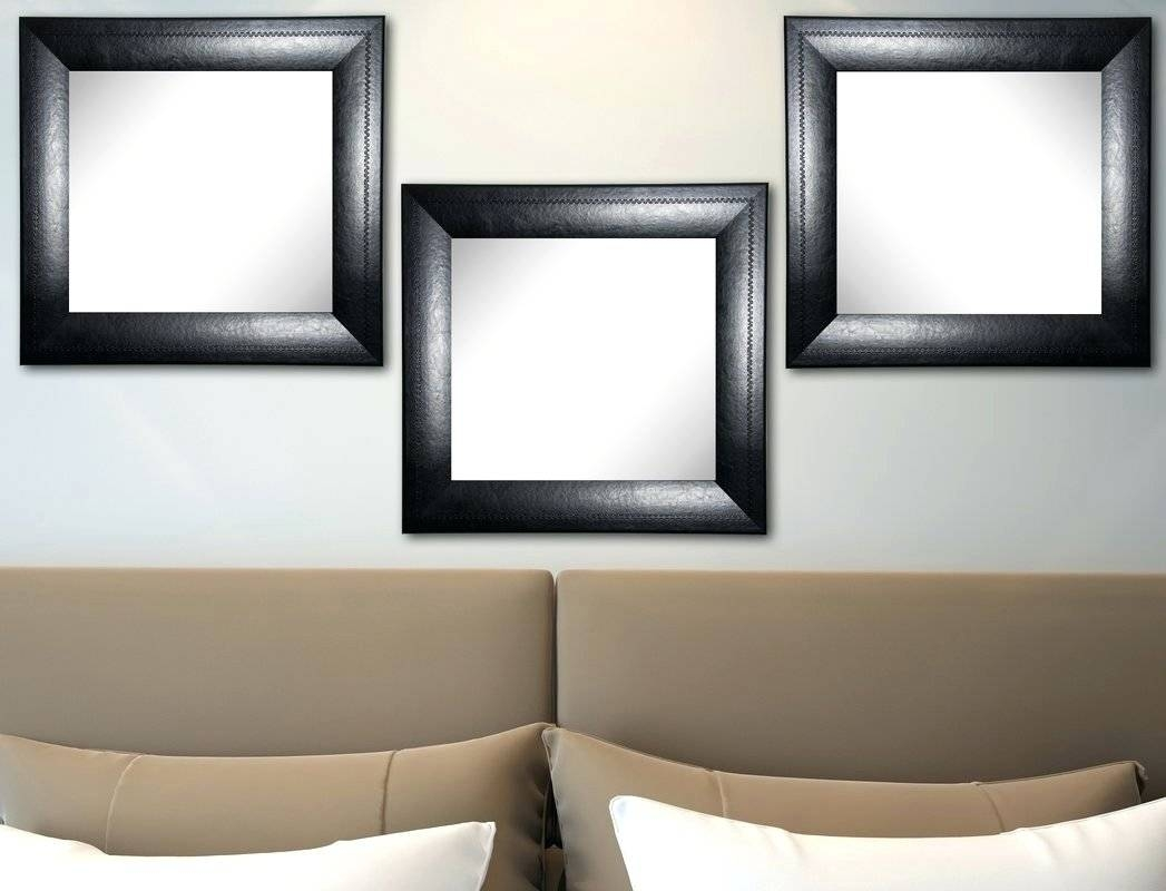 Wall Mirrors ~ George Hanging Round Mirror Features Leather inside Black Leather Framed Mirrors (Image 12 of 15)