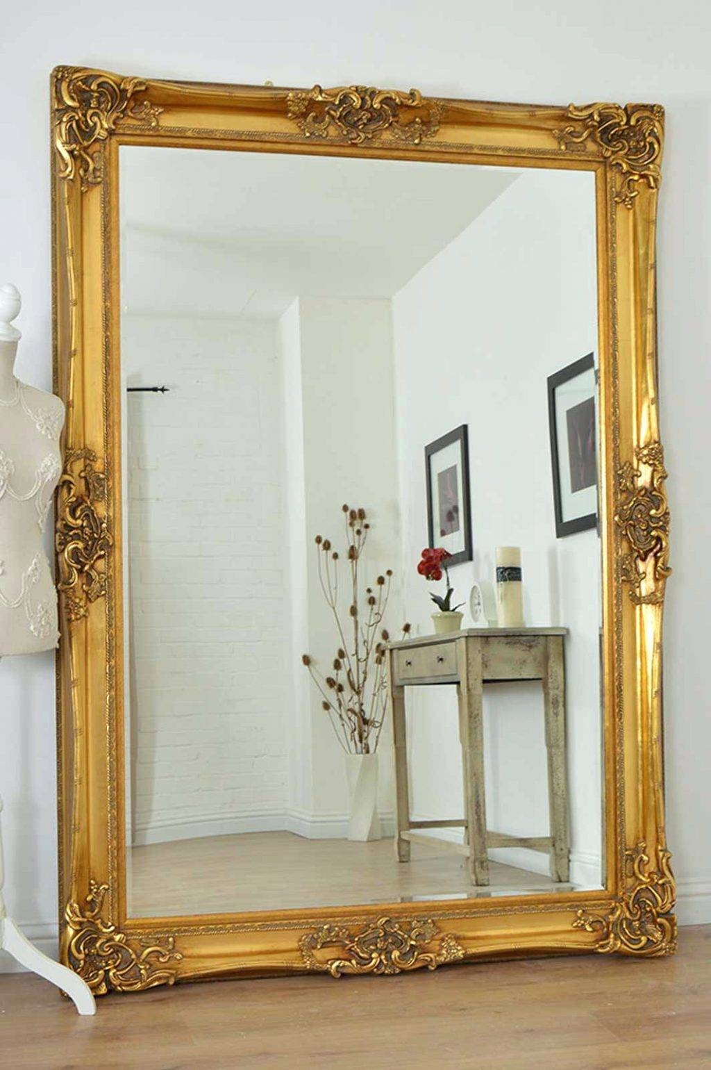 Wall Mirrors ~ Large Gold Very Ornate Antique Design Wall Mirror pertaining to Long Silver Mirrors (Image 13 of 15)