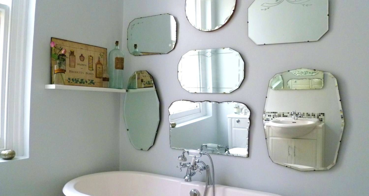 Wall Mirrors ~ Large Modern Art Deco Rectangular Bevelled Glass Pertaining To Vintage Bevelled Edge Mirrors (View 11 of 15)