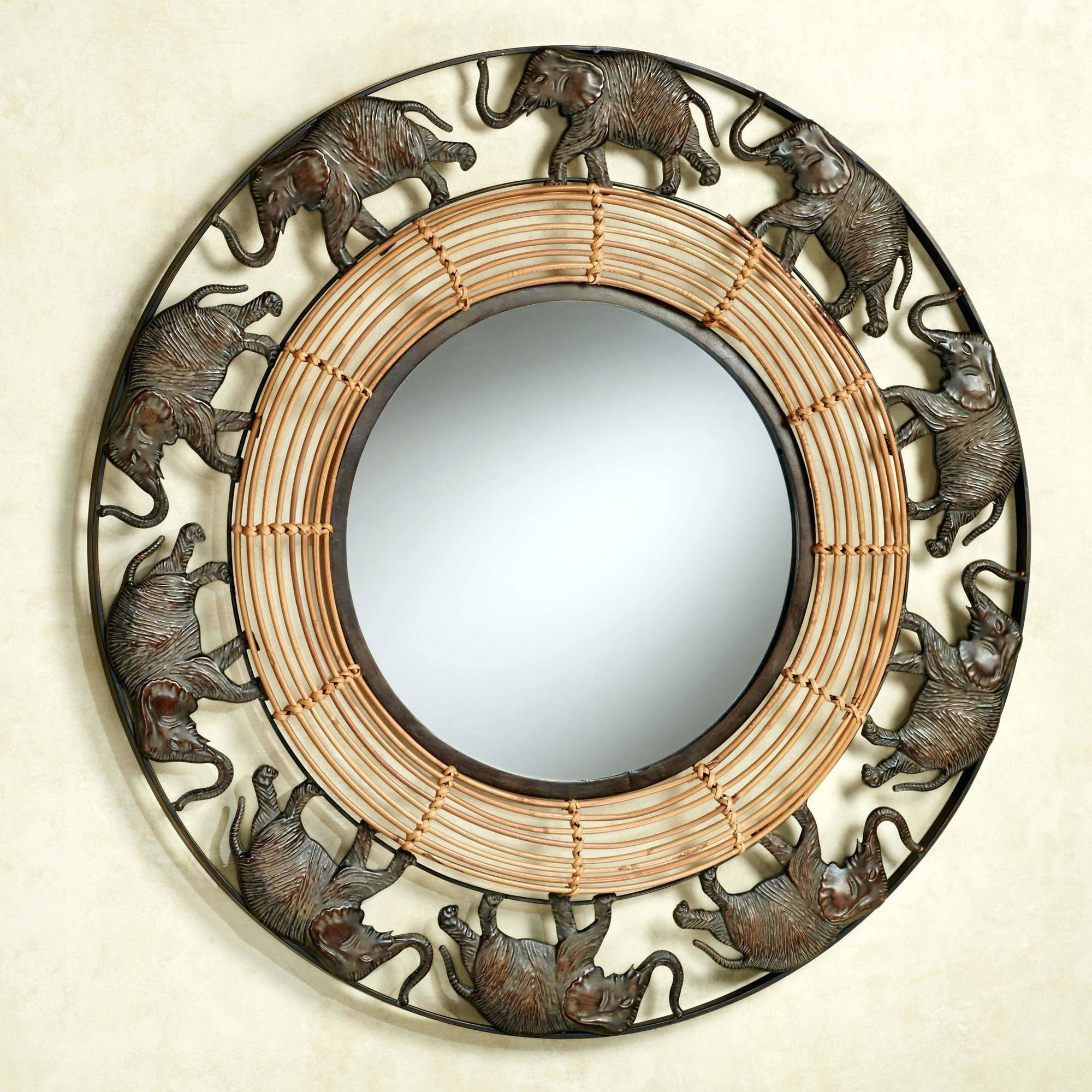 Wall Mirrors ~ Large Round Gold Wall Mirror Abstract Twilight Wall inside Large Round Metal Mirrors (Image 15 of 15)
