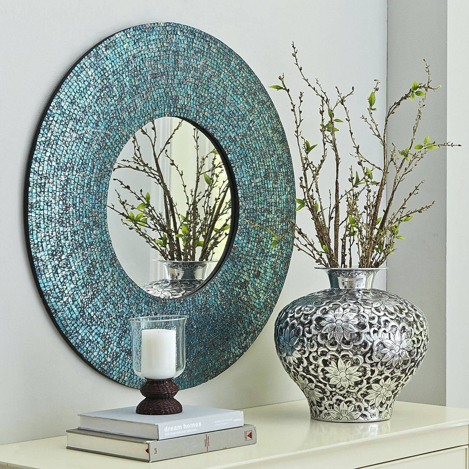 Wall Mirrors ~ Mosaic Wall Mirror Ebay Azure Mosaic Mirror Round In Round Mosaic Mirrors (View 15 of 15)