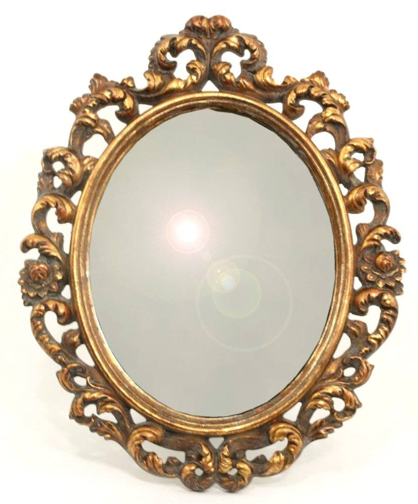 Wall Mirrors ~ Ornate Antique Gold Small Oval Mirror Amazoncouk Regarding Small Vintage Mirrors (View 14 of 15)
