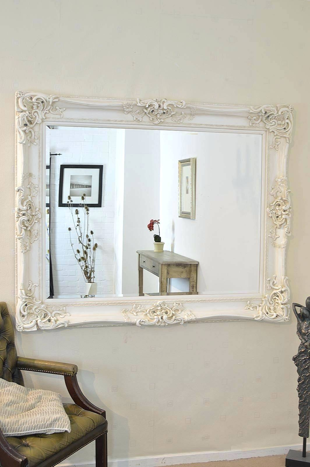 Wall Mirrors ~ Shabby Chic Wall Mirrors Shabby Chic Wall Mirrors in Large White Shabby Chic Mirrors (Image 15 of 15)