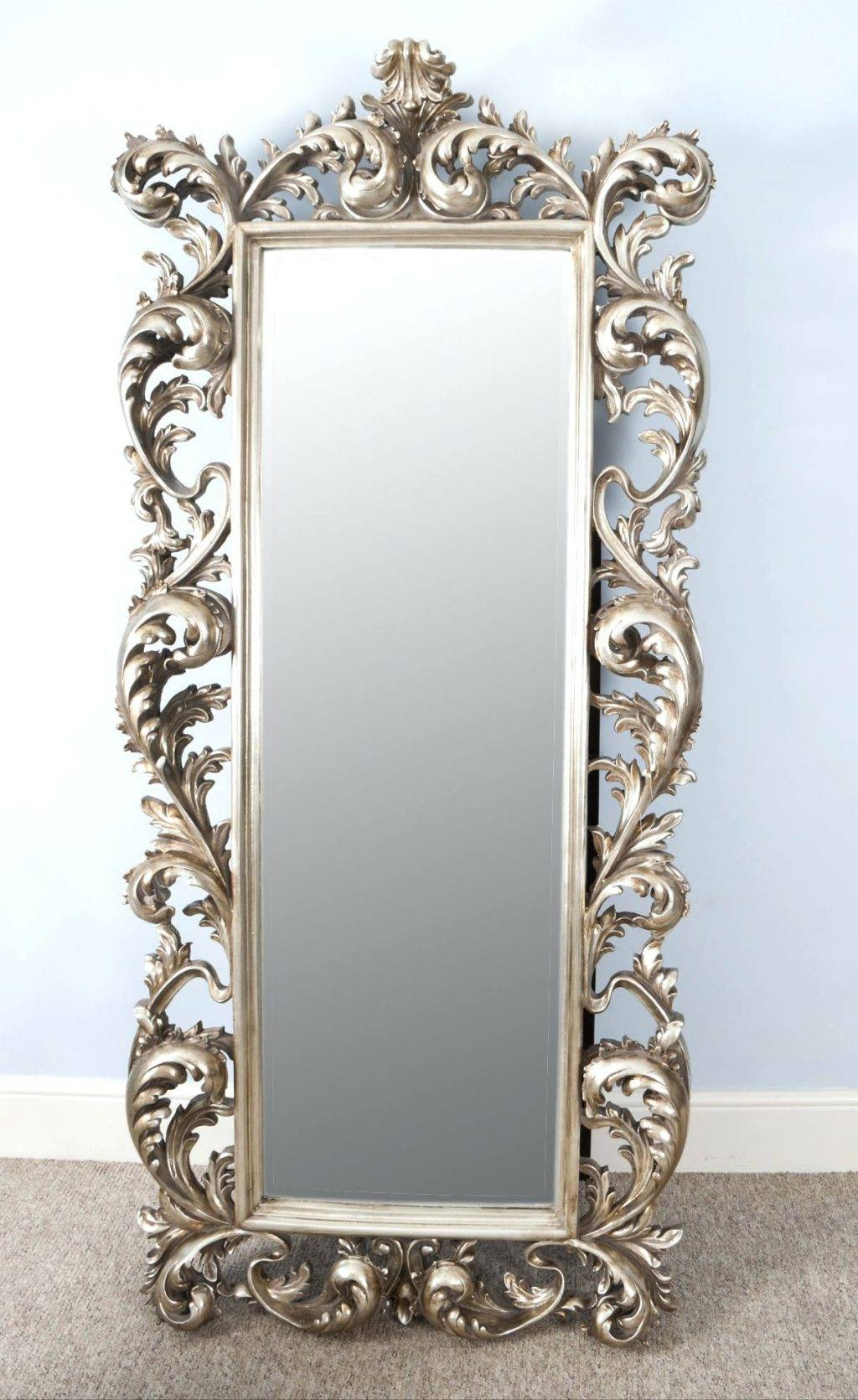 Wall Mirrors ~ Stunning Rococo Antique Style Champagne Silver inside Champagne Silver Mirrors (Image 15 of 15)
