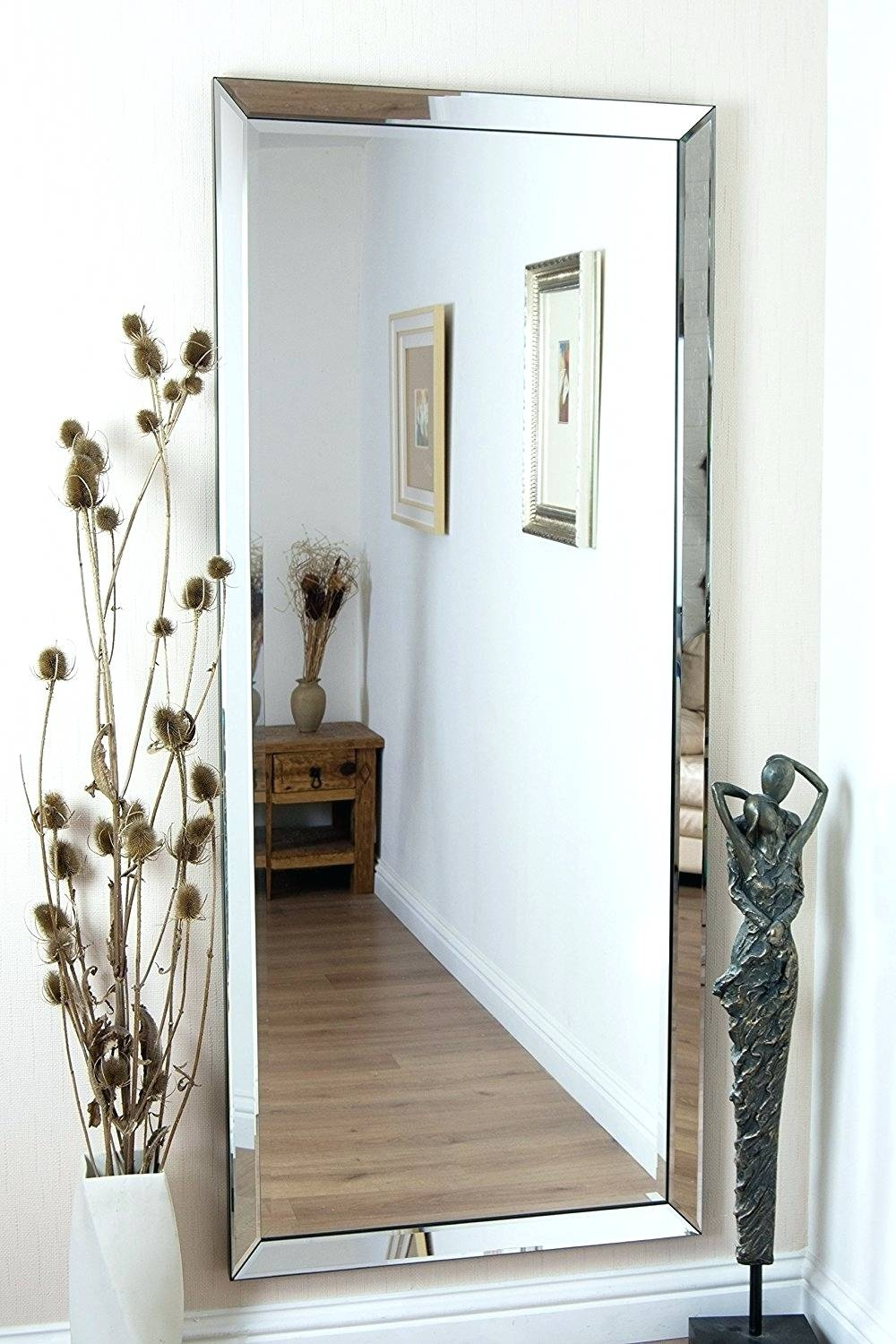 Wall Mirrors ~ Style Selections Silver Beveled Wall Mirror Long with Long Silver Wall Mirrors (Image 15 of 15)