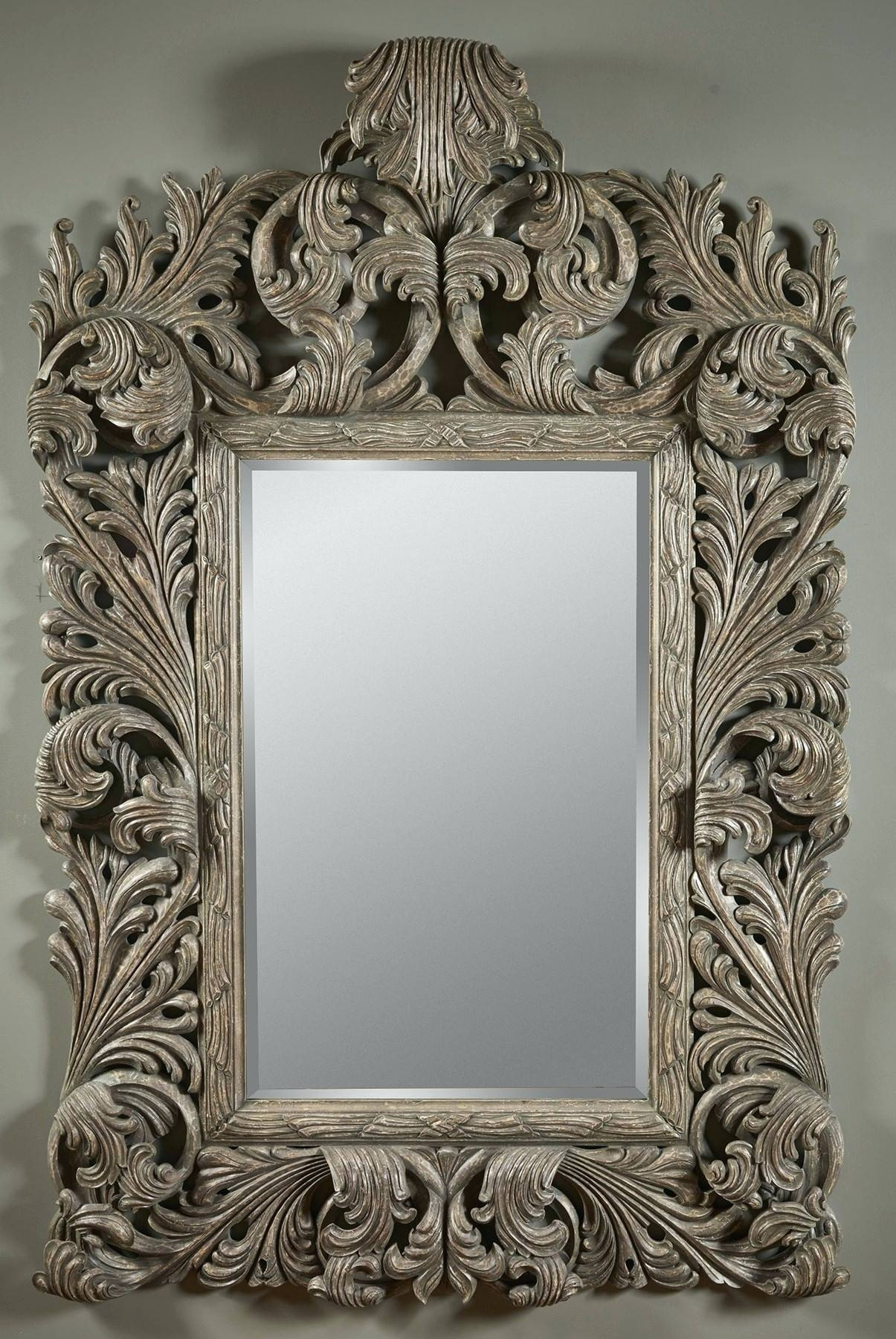 Wall Mirrors ~ Tuscan Style Wall Mirrors Hand Carved Silver Gilded Within Silver Gilded Mirrors (View 15 of 15)
