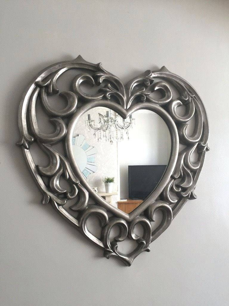 Wall Mirrors ~ Wedding English Love Letters Home Decor 3D Mirror In Large Heart Mirrors (View 15 of 15)