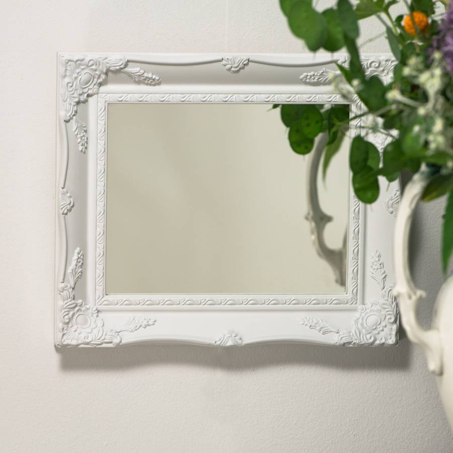 White Ornate French Mirrorhand Crafted Mirrors in Large White French Mirrors (Image 14 of 15)