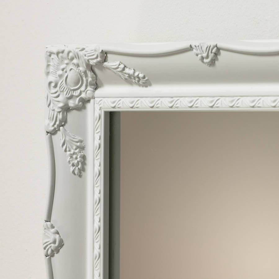 White Ornate French Mirrorhand Crafted Mirrors within Large White French Mirrors (Image 15 of 15)
