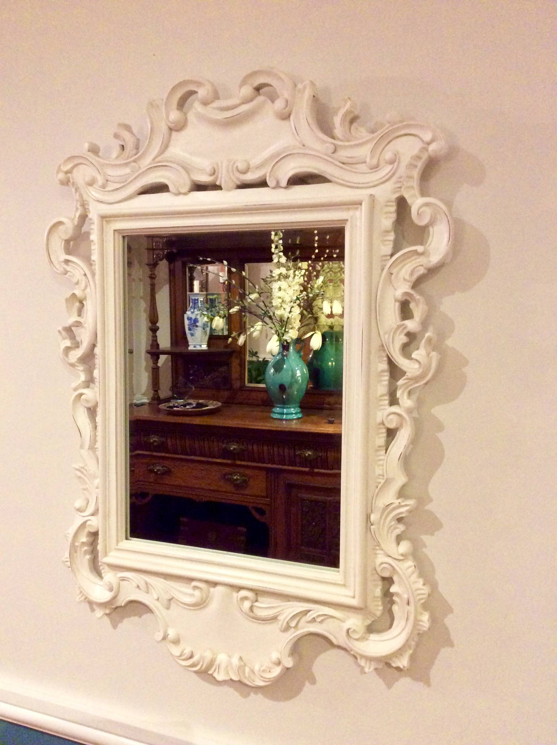 White Rococo Mirror – Sue's Vintage Finds intended for Large White Rococo Mirrors (Image 14 of 15)