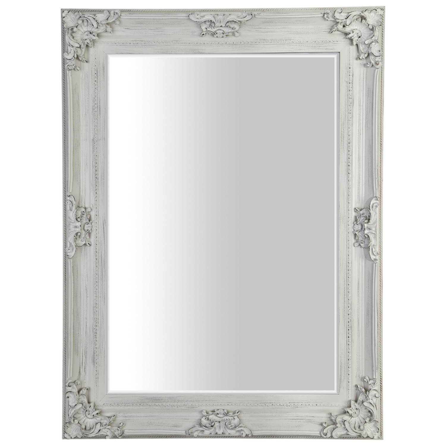 Wooden French Antique Ivory Mirror for French White Mirrors (Image 15 of 15)