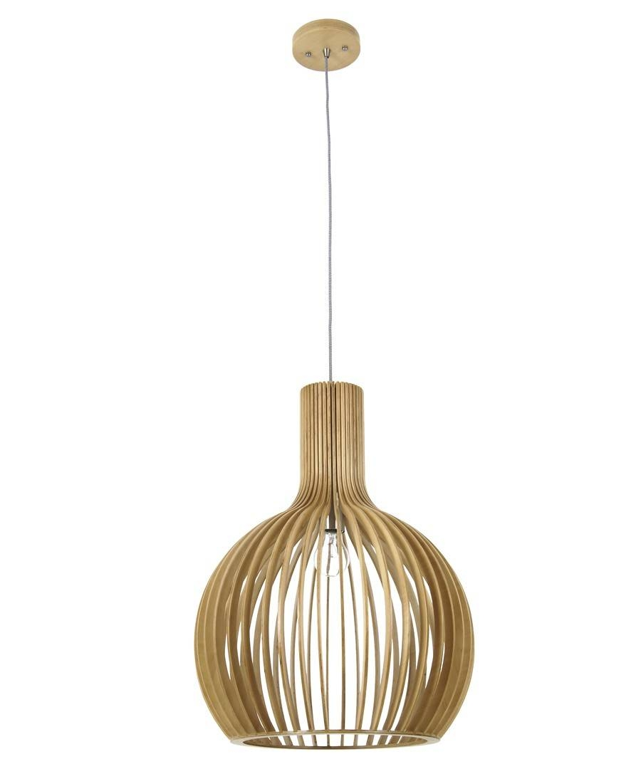 1 Light 450Mm Pendant In Natural Wood Inside Natural Pendant Lights (View 1 of 15)