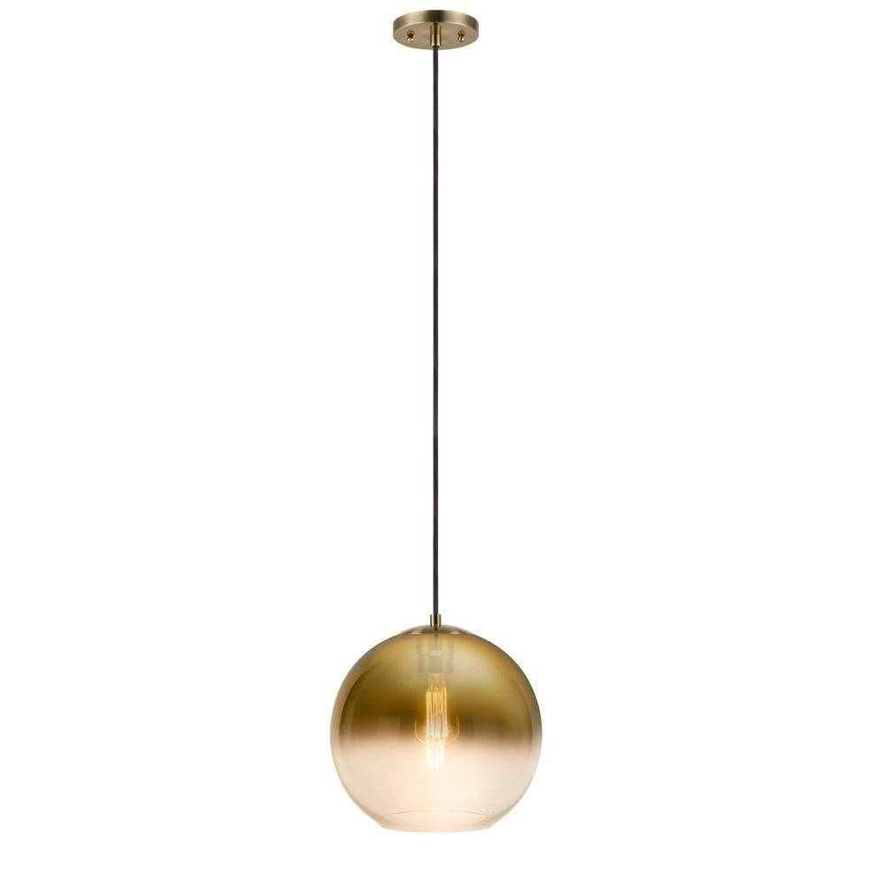 1 Light Gold Clear Glass Pendant 19966 001 – The Home Depot Throughout Gold Glass Pendant Lights (View 8 of 15)