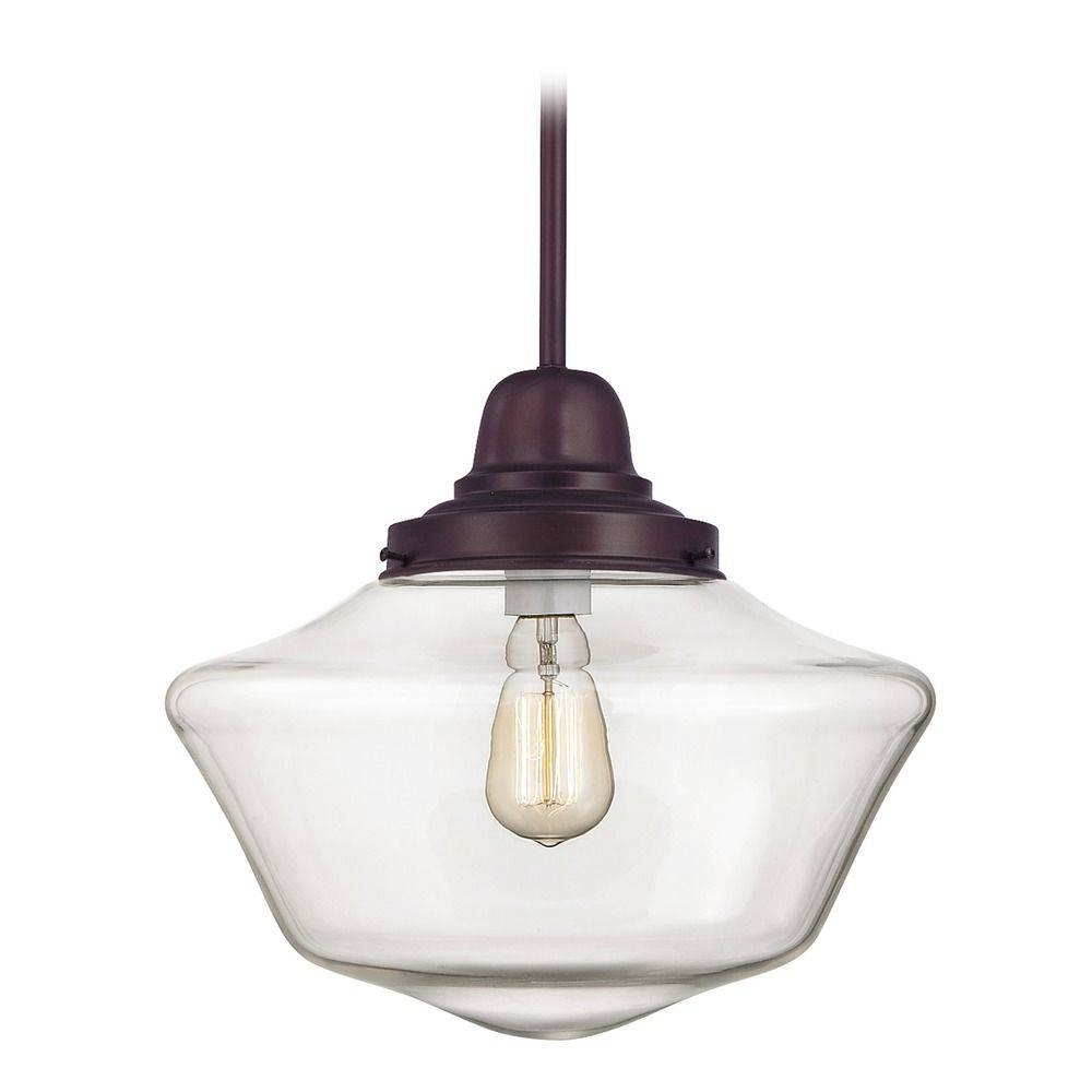 14-Inch Bronze Clear Glass Schoolhouse Pendant Light | Fb6-220 with regard to Schoolhouse Pendant Lights (Image 1 of 15)