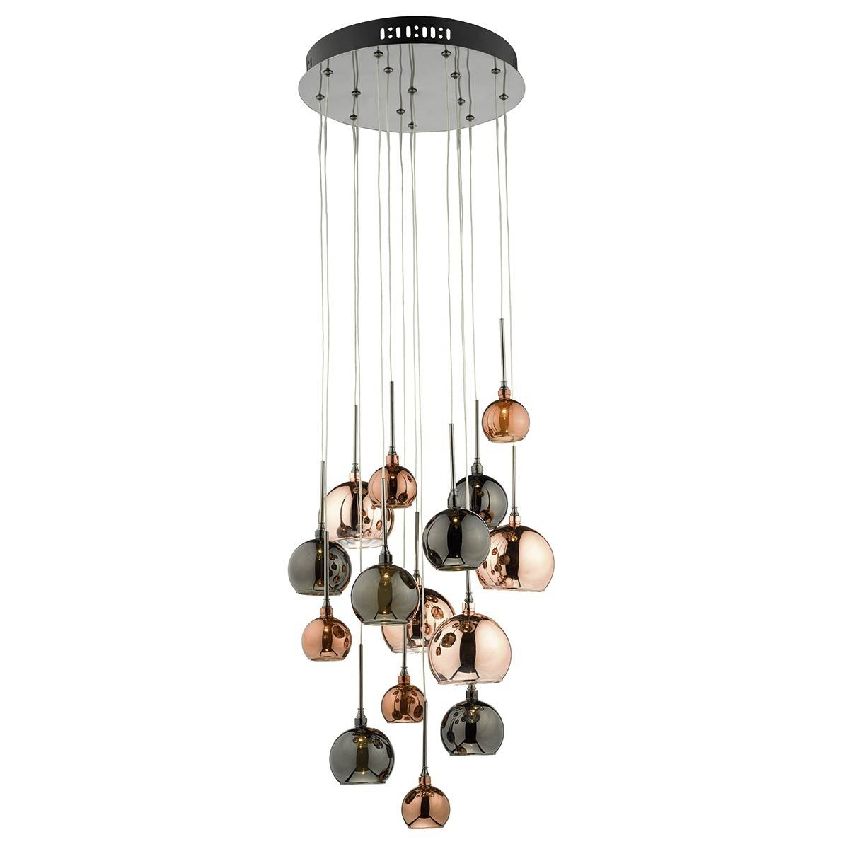 15lt G4 Spiral With Copper, Dark Copper And Bronze Glass15 Light Pertaining To Pendant Lights For Ceiling Plate (View 7 of 15)