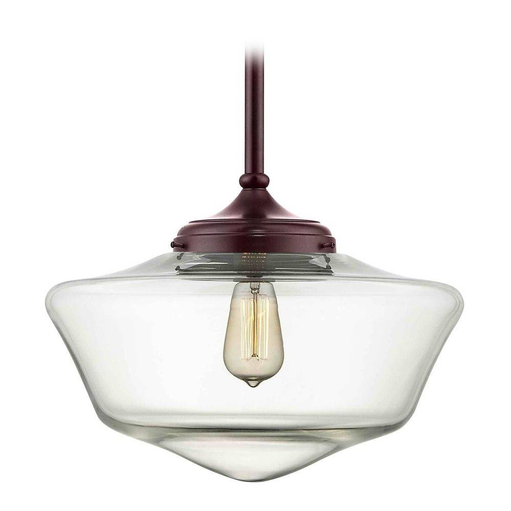 16 Inch Bronze Clear Glass Schoolhouse Pendant Light | Fa6 220 In Schoolhouse Pendant Lighting (View 3 of 15)