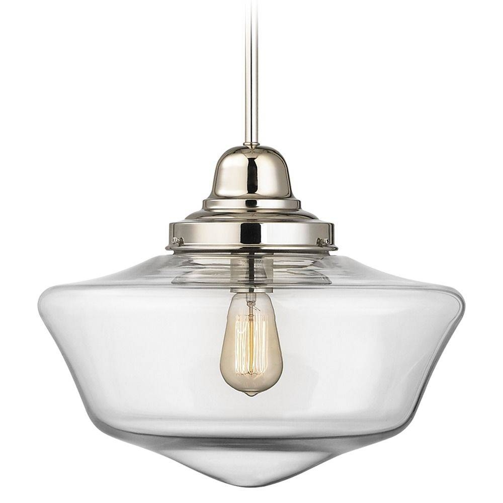 16-Inch Clear Glass Schoolhouse Pendant Light In Polished Nickel pertaining to Schoolhouse Pendant Lights (Image 3 of 15)