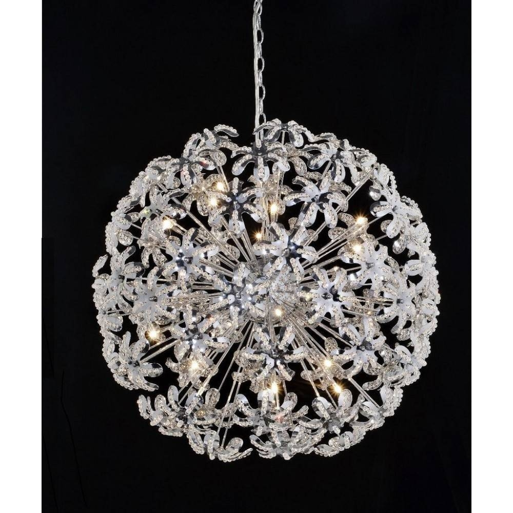 """24"""" Crystal Round Chandelier Pendant Lamp Light Flower Within Flower Pendant Lights (View 11 of 15)"""