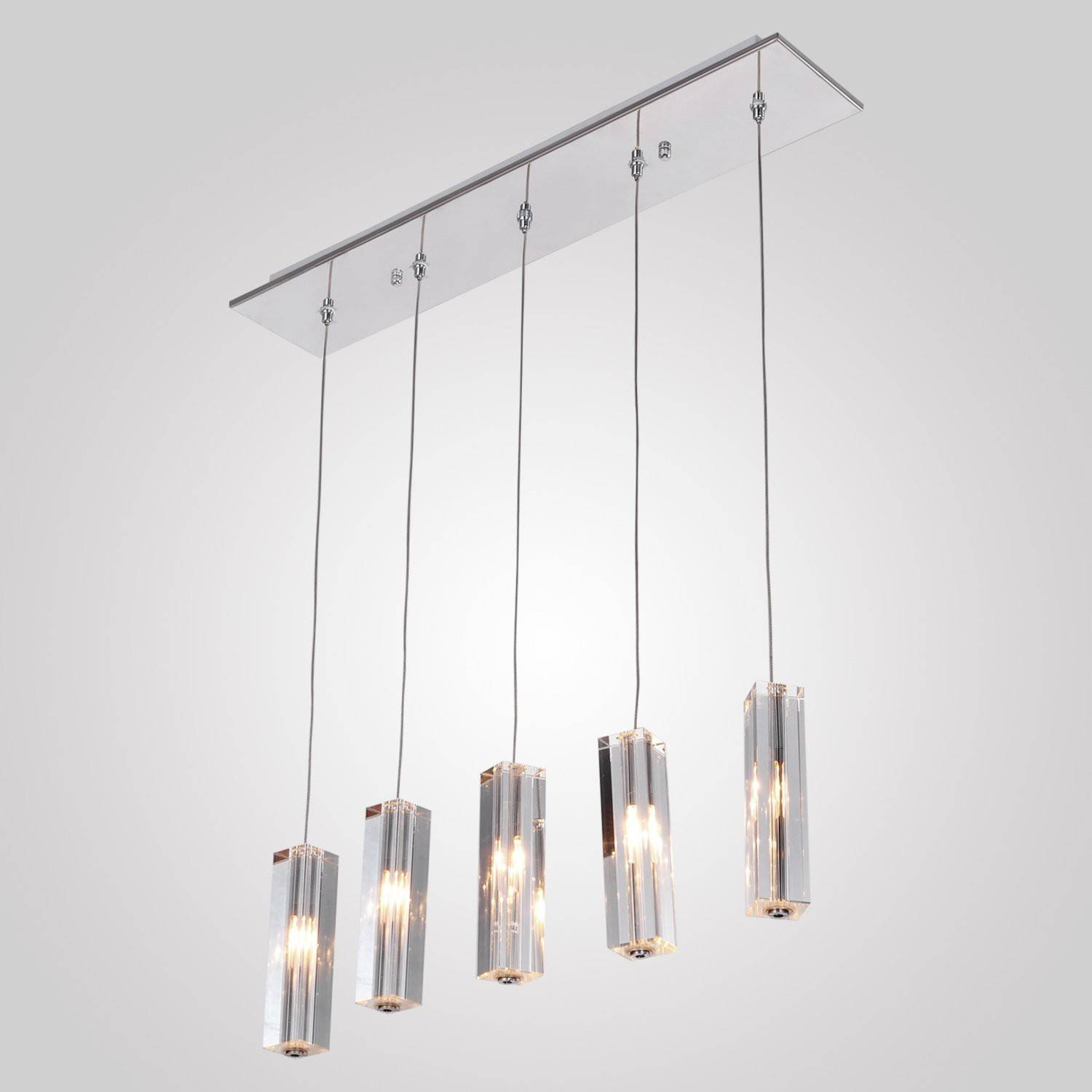 5 Cuboid Square Clear Crystal Pendant Light Intended For Square Pendant Light Fixtures (Gallery 9 of 15)