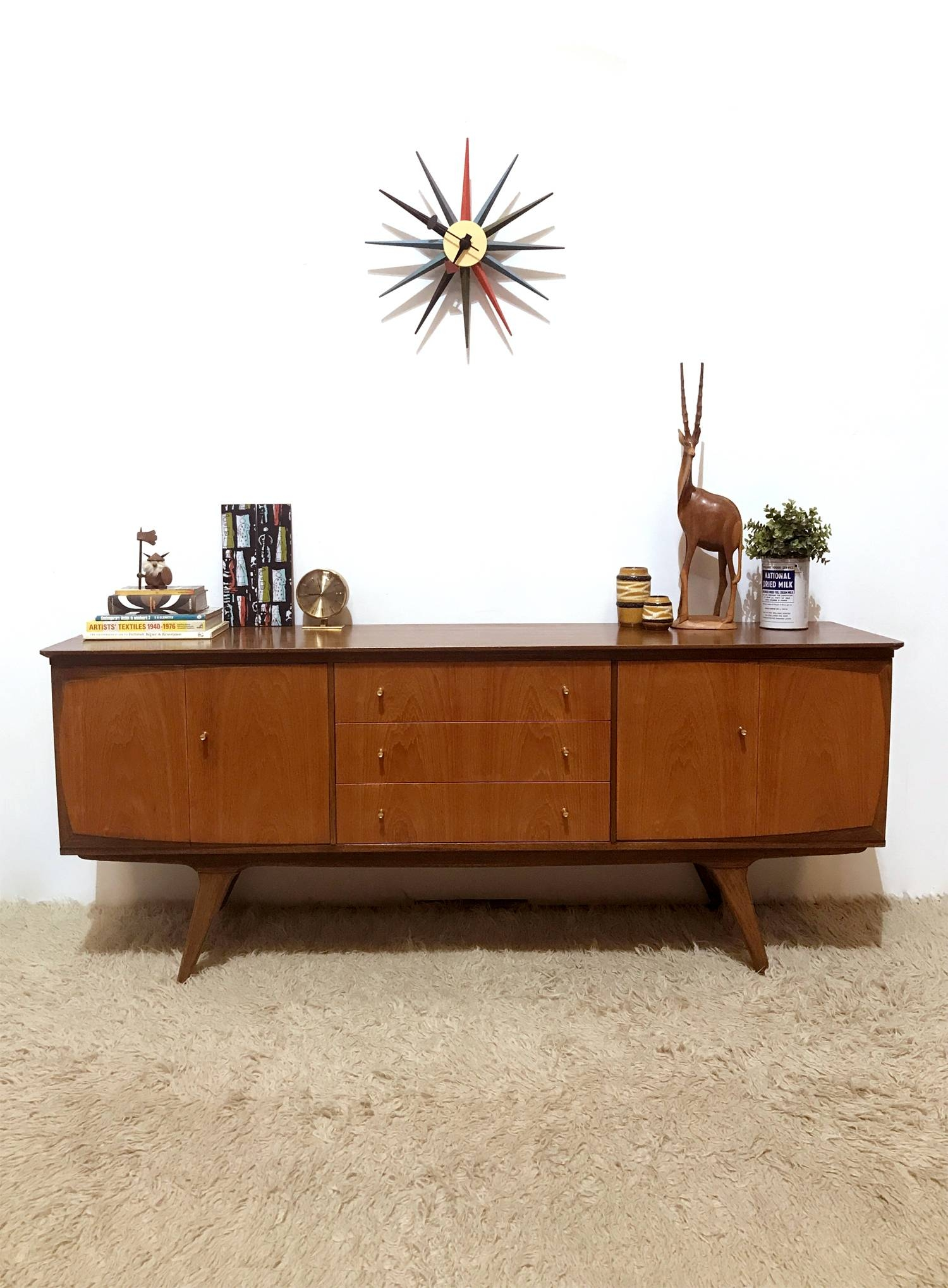 50S 60S Outstanding Mid Century Vintage Bi Folding Doors Sideboard in 50S Sideboards (Image 4 of 15)