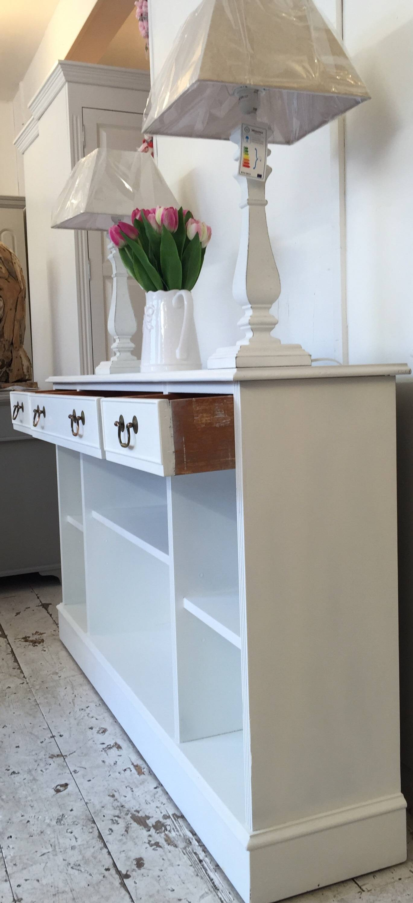 5Ft 'all White' Shallow Sideboard - Bookcase - Home Sweet Homehome within Shallow Sideboards (Image 3 of 15)