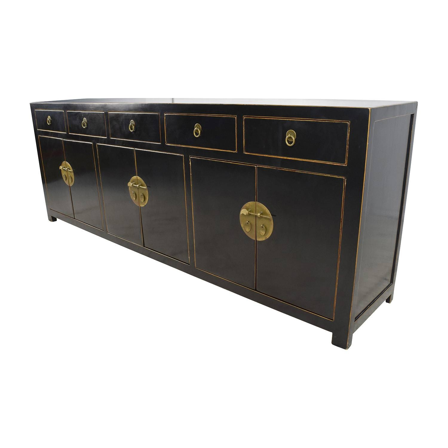 85% Off – Custom Made Black Drawer And Cabinet Sideboard / Storage Inside Black Sideboard Cabinets (View 8 of 15)