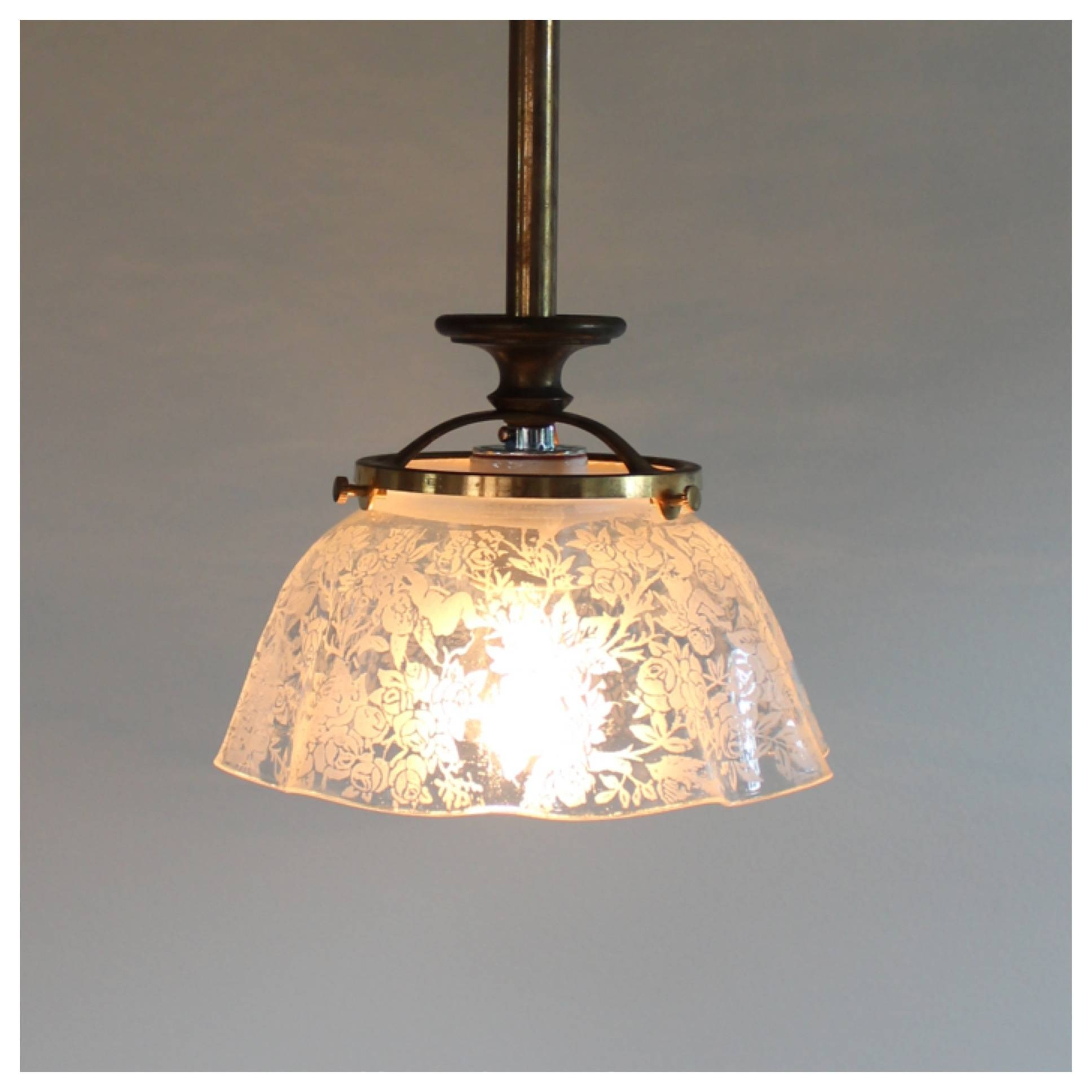A1530 Etched Glass Shade Pendant | Bogart, Bremmer & Bradley Antiques Inside Etched Glass Pendant Lights (View 3 of 15)