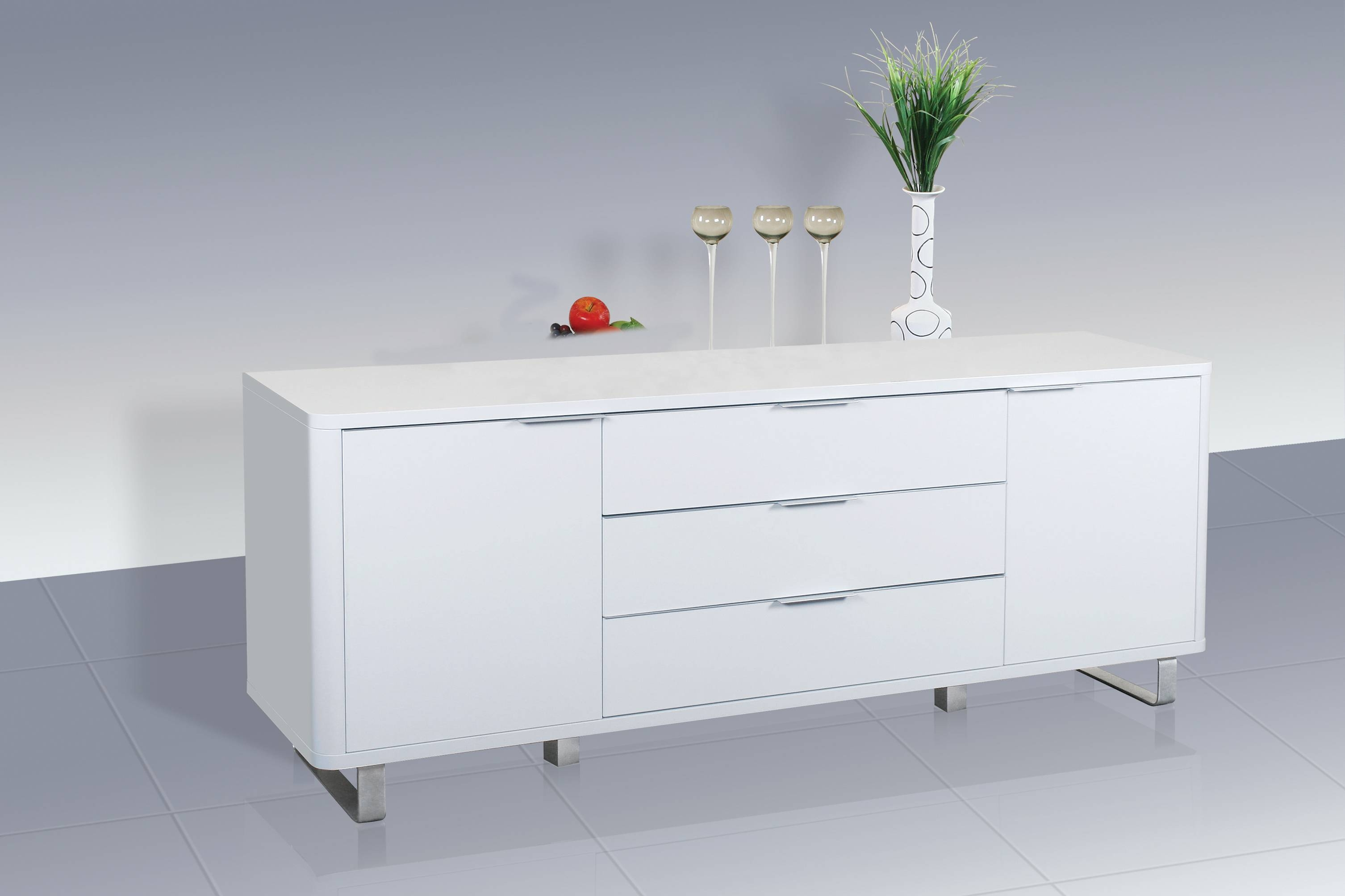 Accent Sideboard - High Gloss White - Lpd Furniture throughout Gloss Sideboard Furniture (Image 1 of 15)