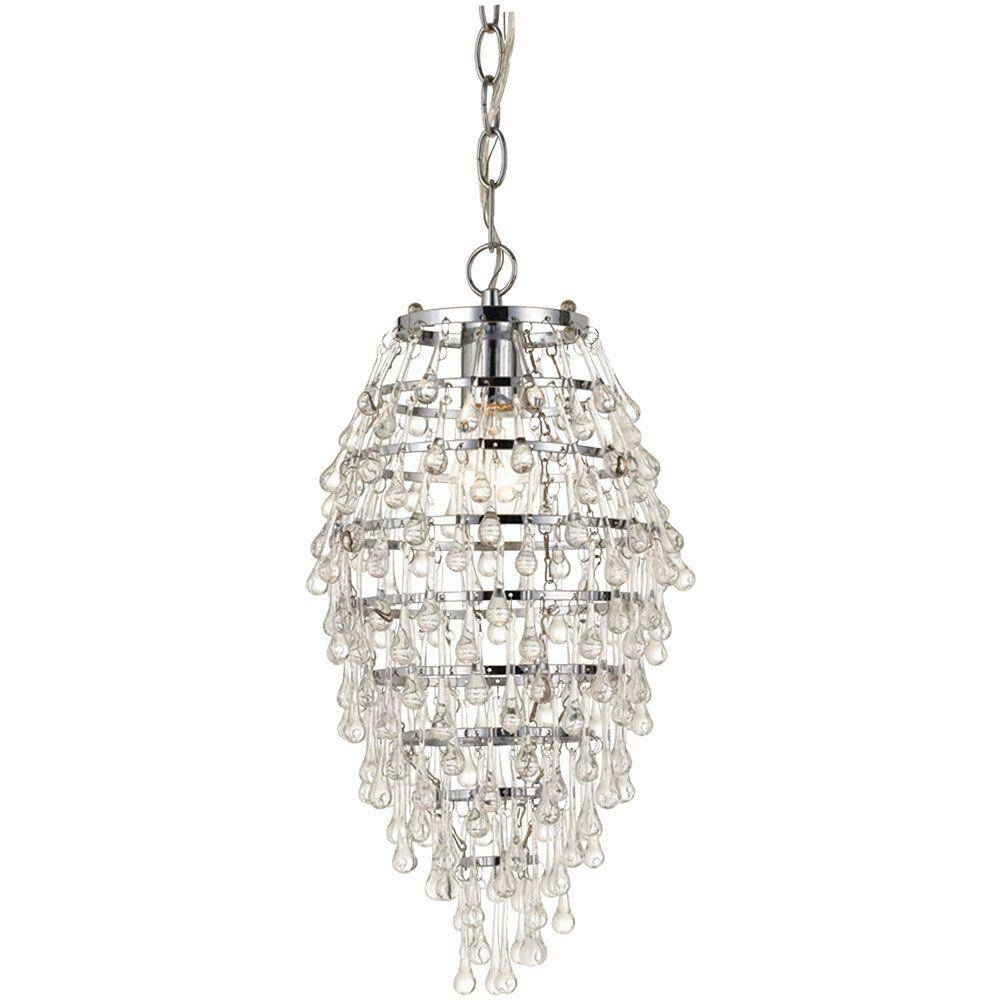 Af Lighting Crystal Teardrop 1-Light Chrome Mini Chandelier With intended for Crystal Teardrop Pendant Lights (Image 1 of 15)