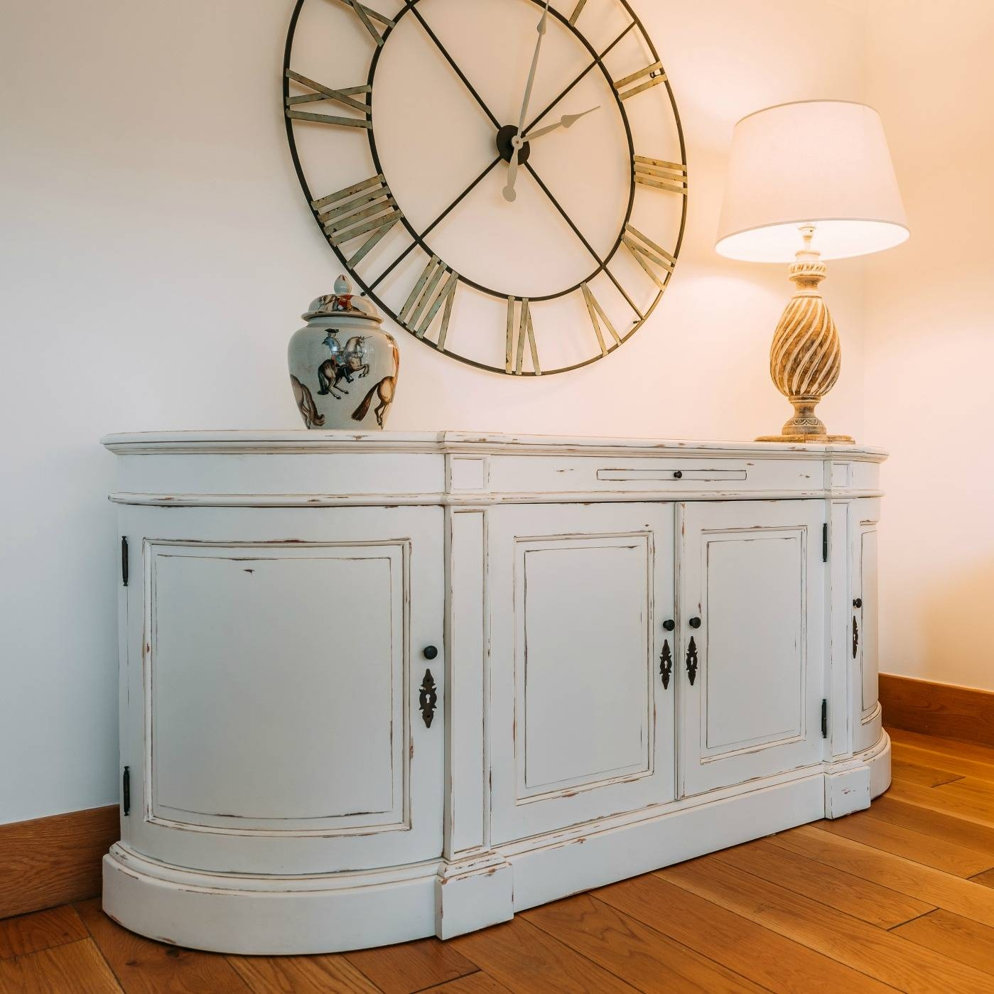 Aged French Distressed White Large Sideboard Furniture – La Maison Inside French Sideboards (View 4 of 15)