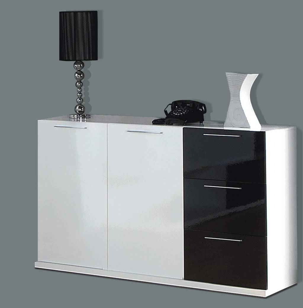 Alida Black And White Gloss Sideboard with regard to Uk Gloss Sideboards (Image 2 of 15)