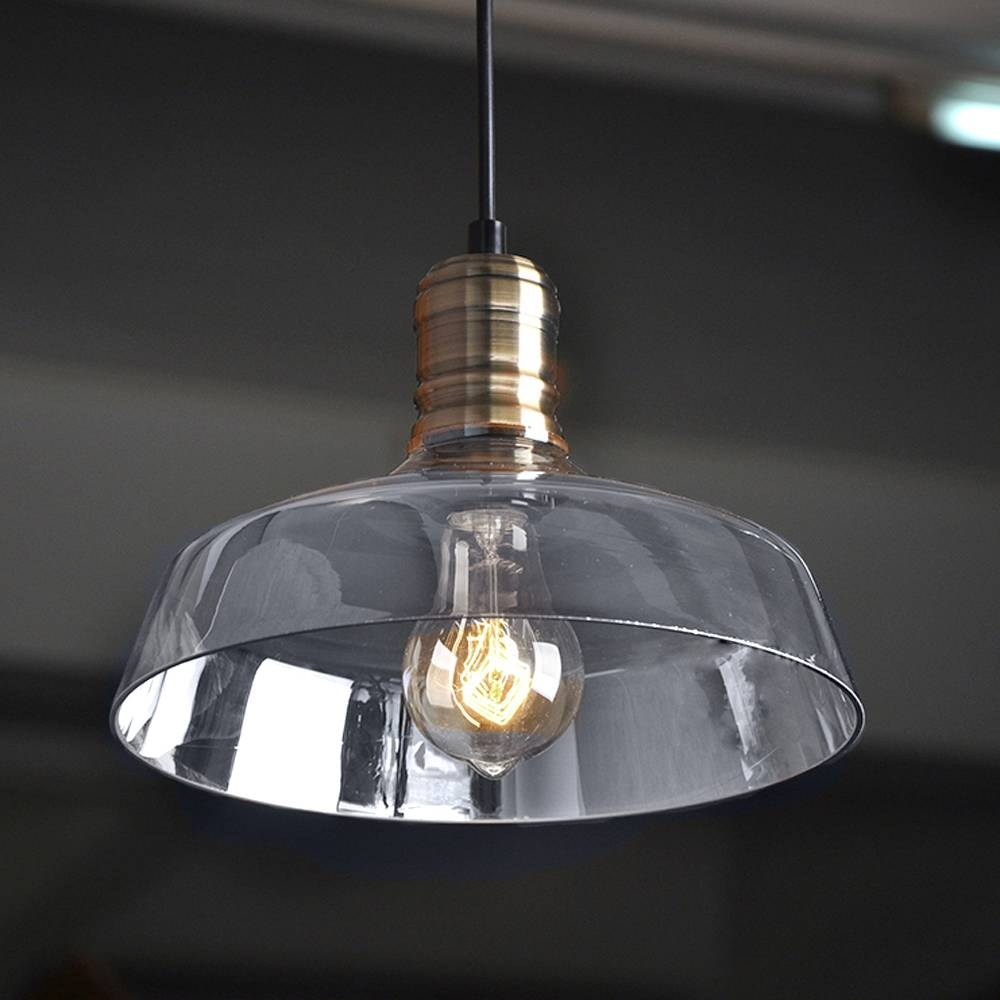 American Industrial Pendant Light Vintage Glass Bowl Pendant Light For Glass Bowl Pendant Lights (View 6 of 15)