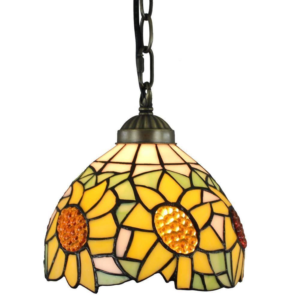Amora Lighting Tiffany Style 1 Light Sunflower Pendant Lamp 8 In Within Tiffany Style Pendant Light Fixtures (View 7 of 15)