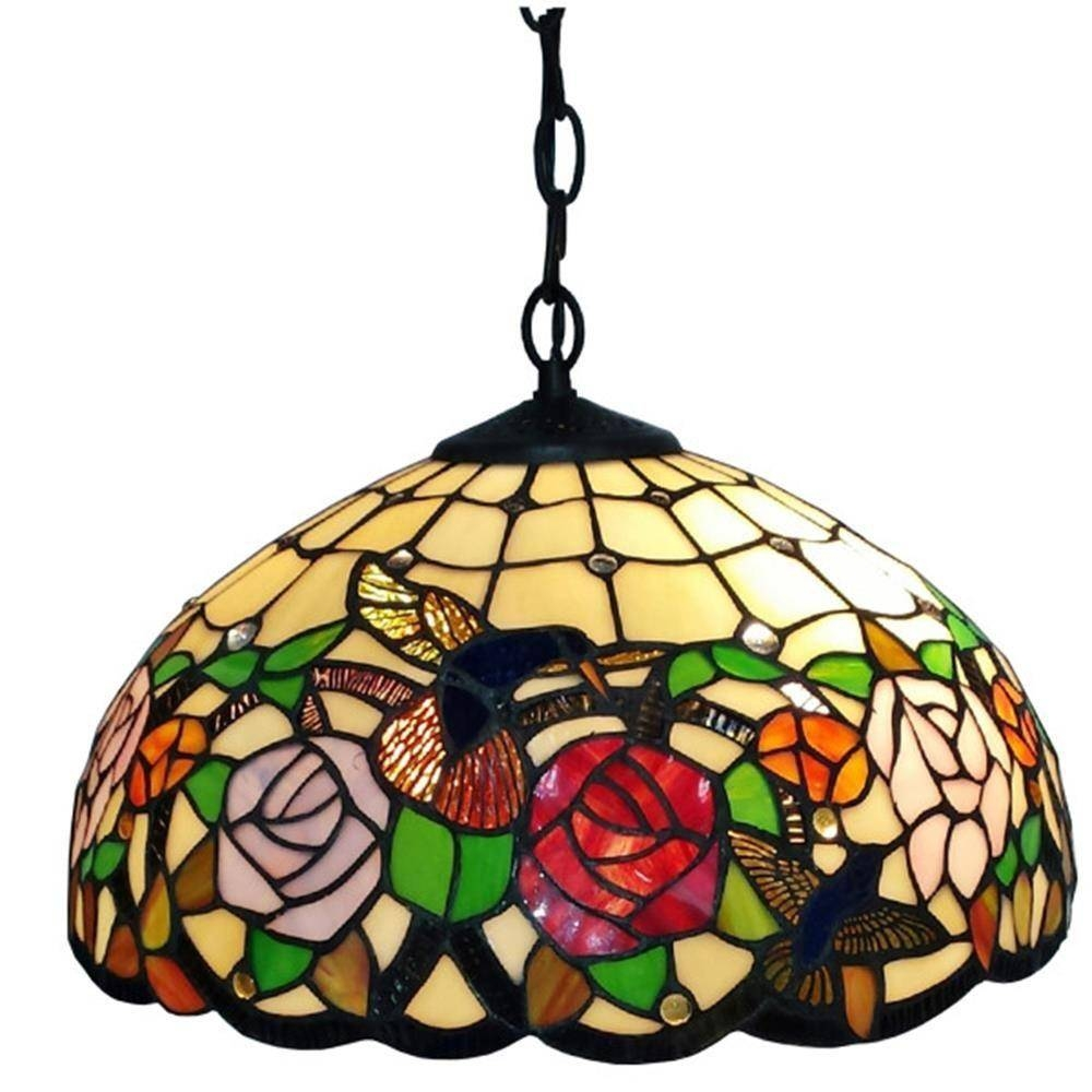 Amora Lighting Tiffany Style 2 Light Hummingbirds Floral Hanging With Regard To Tiffany Style Pendant Light Fixtures (View 5 of 15)