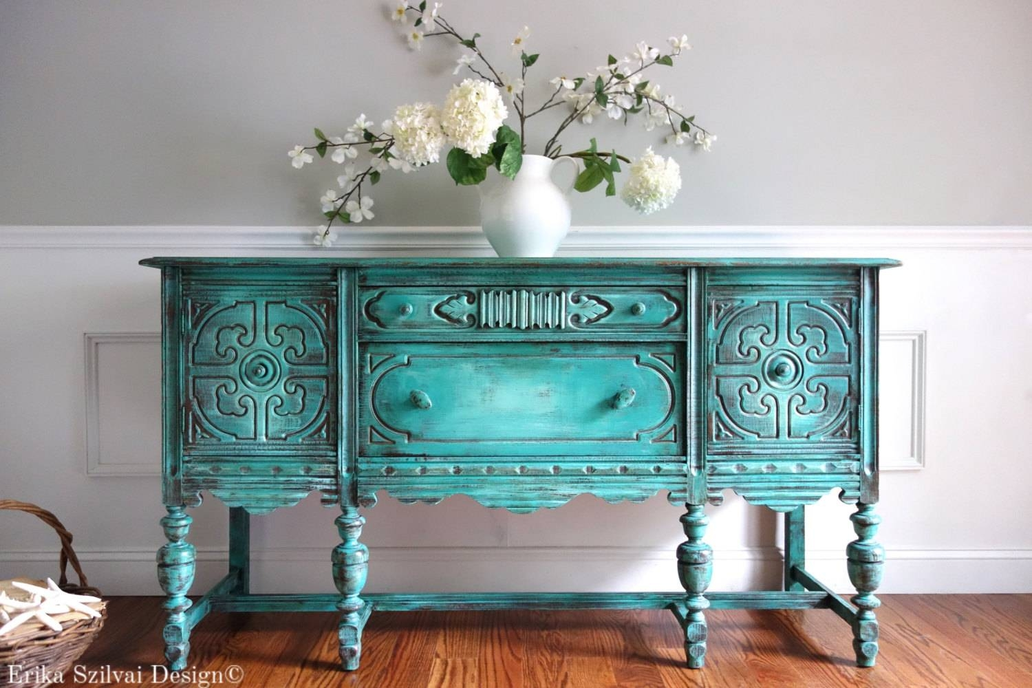 Antique Distressed Weathered Turquoise Sideboard | Everything intended for Distressed Sideboards And Buffets (Image 2 of 15)