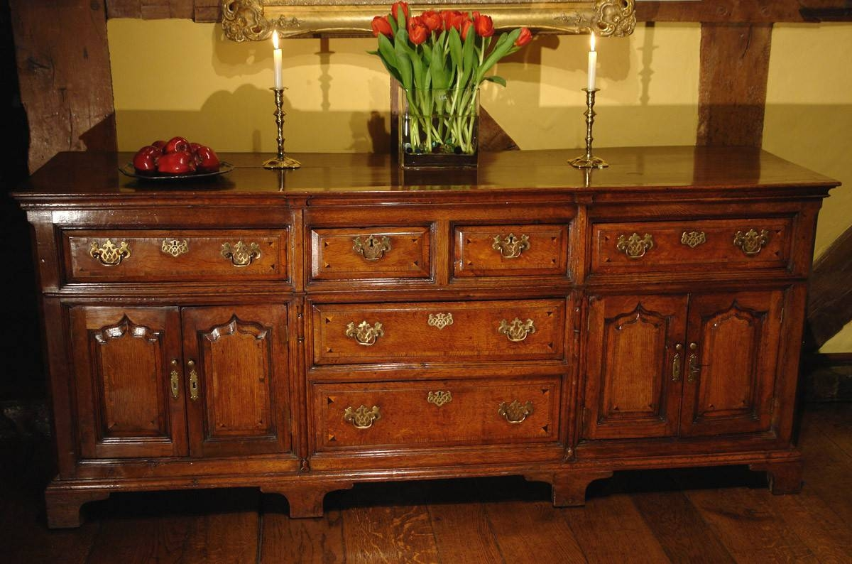 Antique Dresser Base / Sideboard, Georgian Oak - Adams Antiques throughout Antique Oak Sideboards (Image 1 of 15)