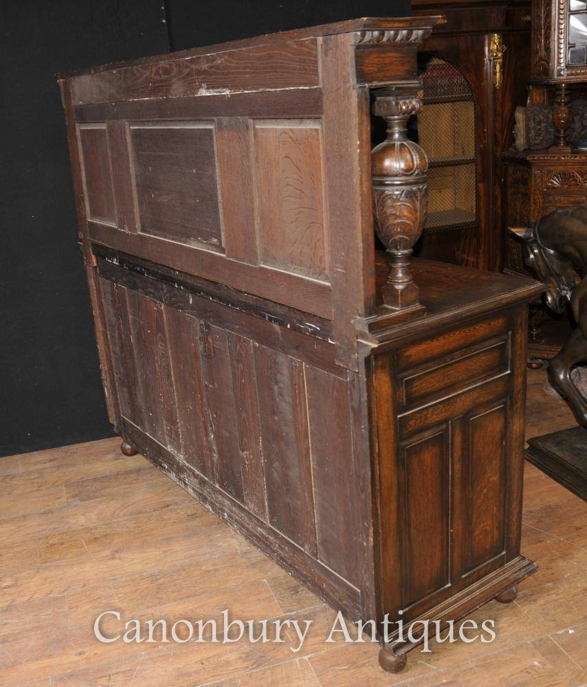 Antique Oak Jacobean Sideboard Server Buffet Kitchen Furniture | Ebay Pertaining To Jacobean Sideboards Buffets (Image 2 of 15)