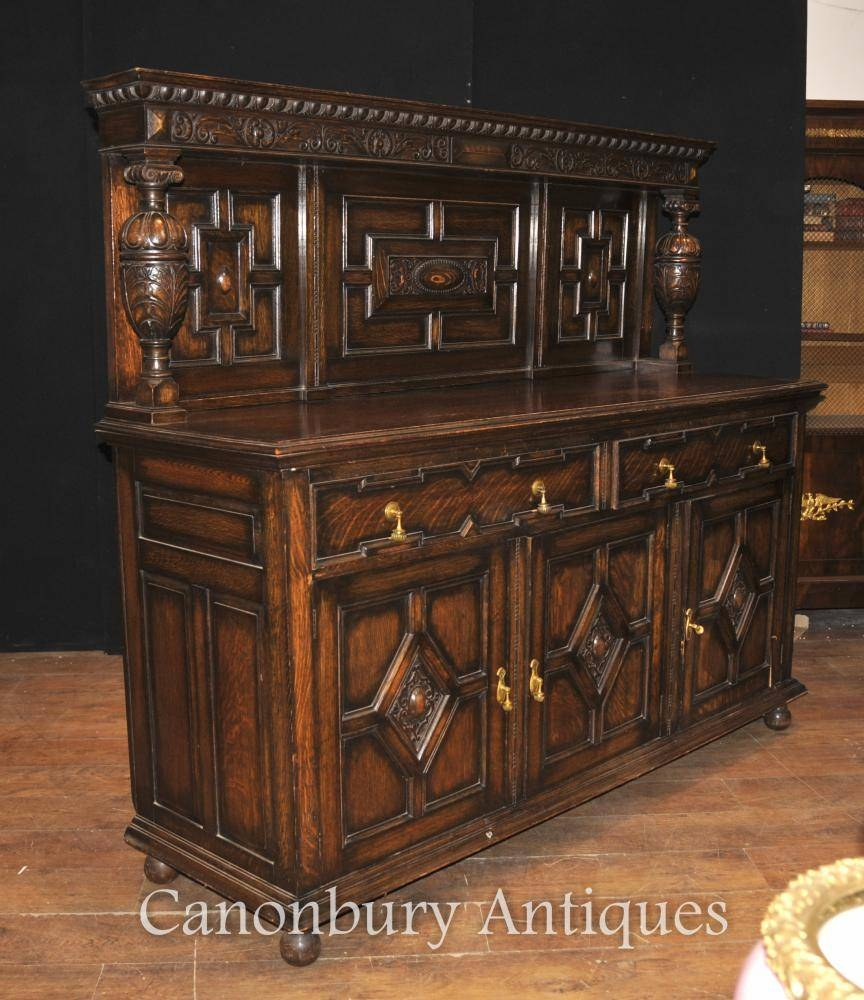 Antique Oak Jacobean Sideboard Server Buffet Kitchen Furniture | Ebay With Jacobean Sideboards Buffets (Image 3 of 15)