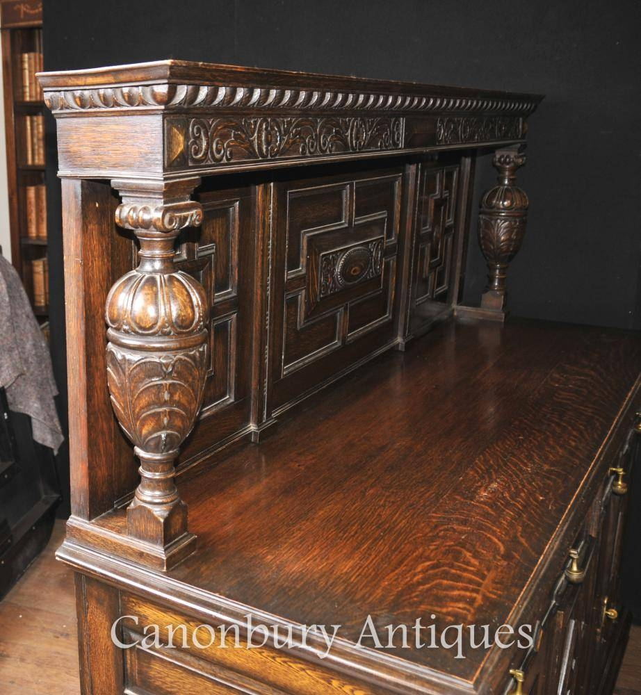 Antique Oak Jacobean Sideboard Server Buffet Kitchen Furniture | Ebay with regard to Antique Oak Sideboards (Image 4 of 15)